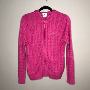 Lacoste pink cable knit zip up sweater w hood 42